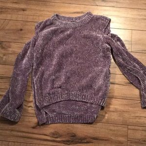 Chenille open shoulder sweater